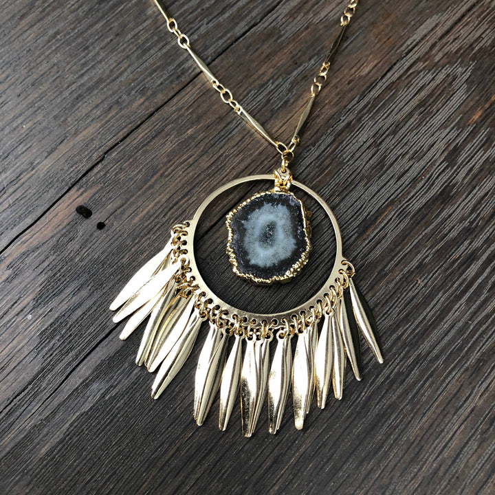 Fringed hoop pendant with jasper stalactite slice accent - gold
