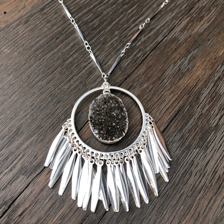 Fringed hoop pendant with druzy accent