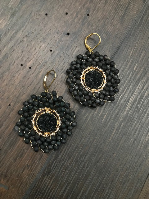 Seed bead disc earring with druzy centers