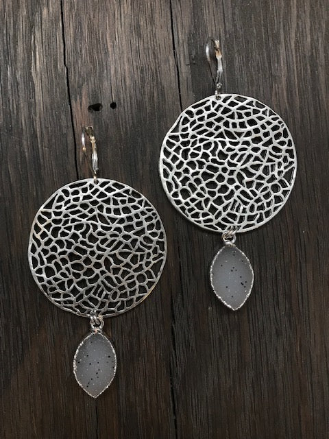 Filigree disc earrings with druzy drops
