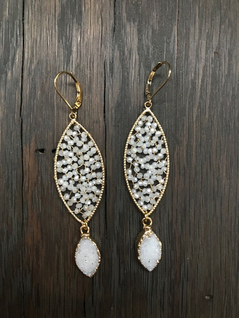 Seed bead filled marquis earrings with druzy drops