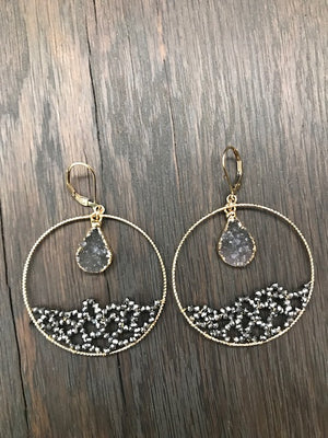 Ocean Wave seed bead hoop earrings with druzy drops - gray