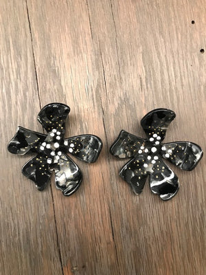 Large acetate flower stud earrings with beading