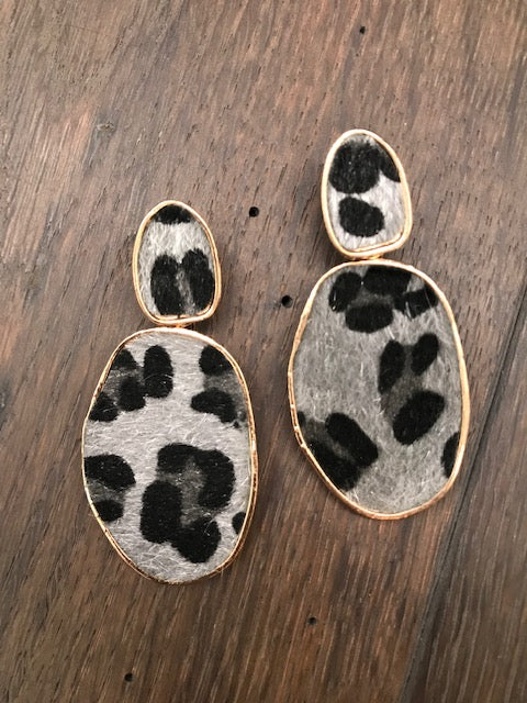 Faux pony hair leopard earrings