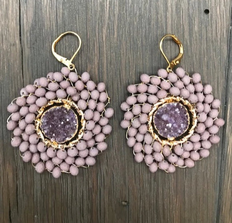 Seed bead earrings with druzy centers