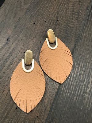 Gold tone leather leaf earrings