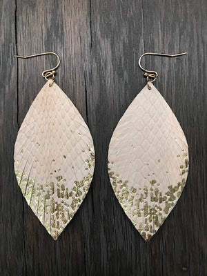 Leather leaf earrings with gold metallic paint accent