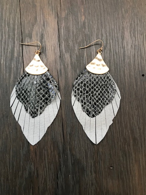 Leather snakeskin print fringe leather leaf earrings