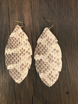 Snakeskin print leather leaf earrings