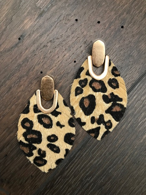 Leopard faux pony hair leaf earrings