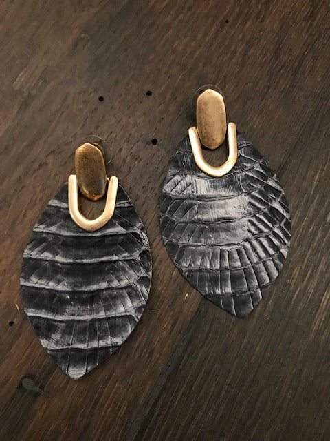 Gray leather leaf earrings with faux snakeskin print