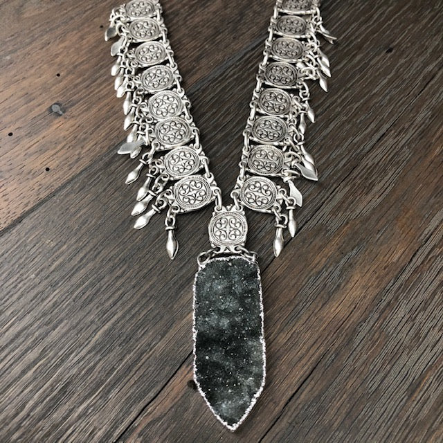 Druzy accented fringed statement necklace