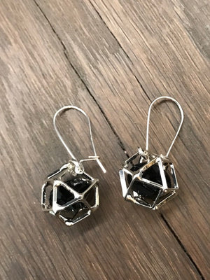 Geometric crystal cage drop earrings