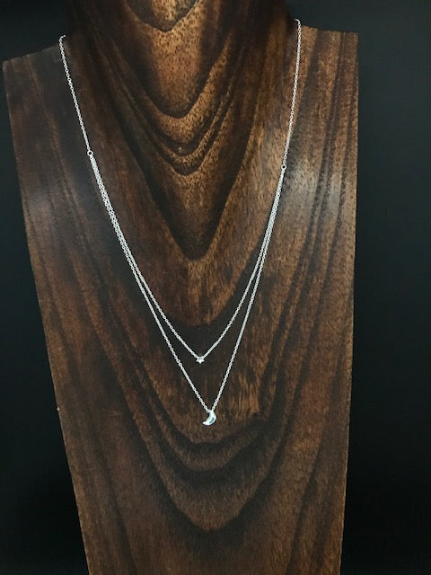 Crescent moon and star layered necklace