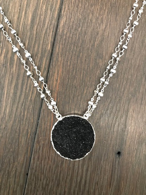 Black druzy with silver bubble chain
