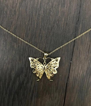 Filigree butterfly layering necklace