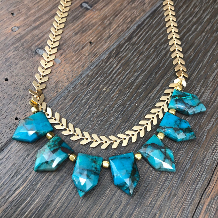 Chrysocolla spear necklace with brushed gold chevron chain