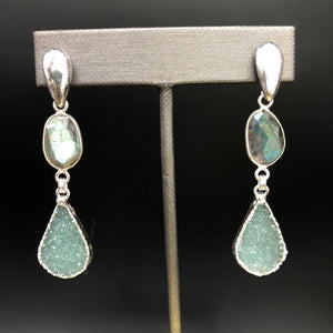 Gorgeous labradorite and rare green druzy earrings