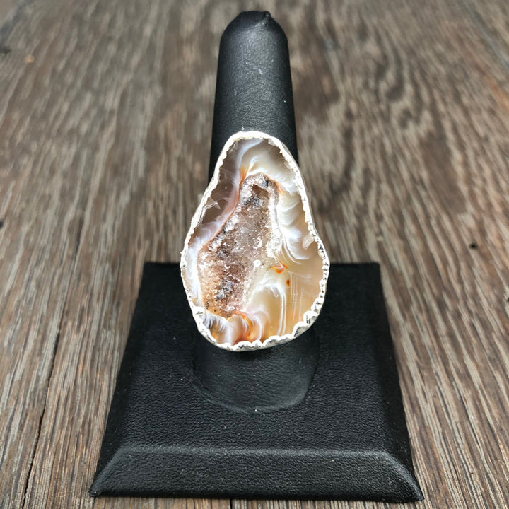 Tan wave Oco geode ring - silver