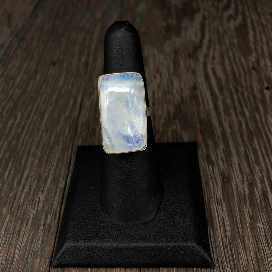 Rainbow Moonstone sterling silver ring