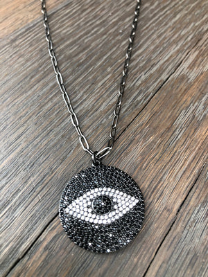 "Protective ""eye"" large coin necklace - gunmetal"