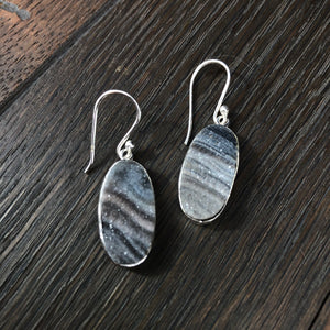 Desert druzy oval earrings in sterling silver