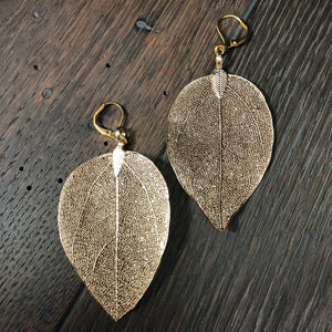 Filigree real leaf earrings - silver and gold