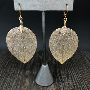 Filigree leaf print earrings - silver and gold