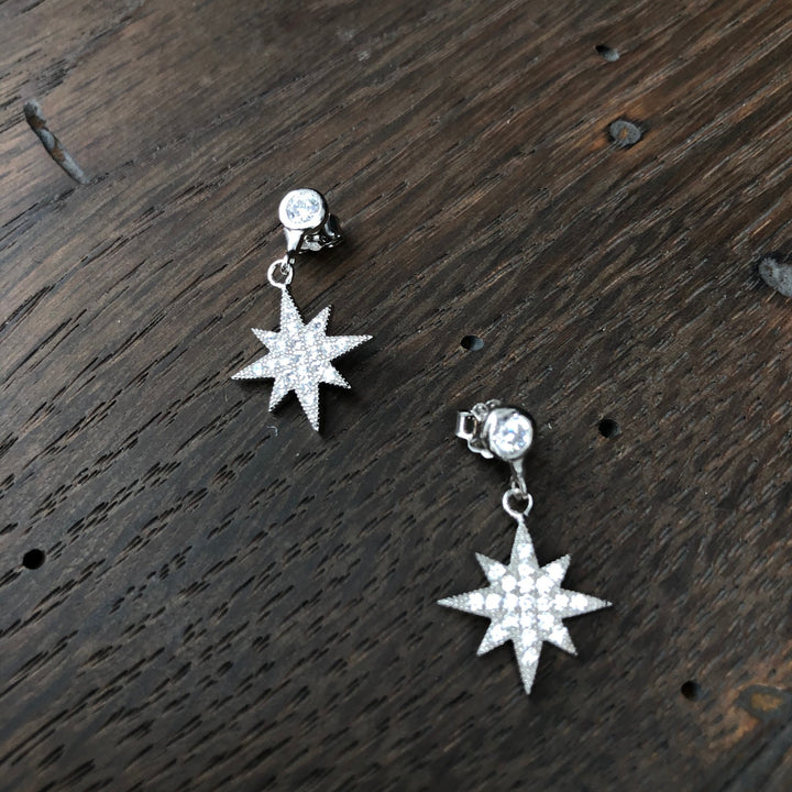 Tiny pavé star earrings - silver