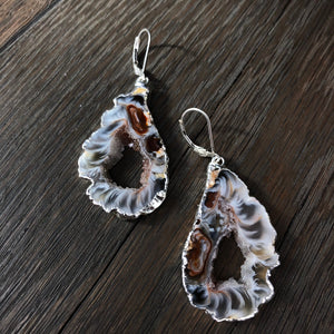 Extra quality oco geode slice earring pairs - silver