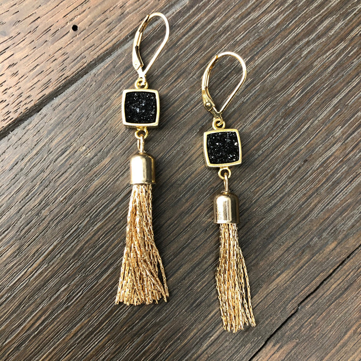 Tassel earring with bezel coated druzy - gold
