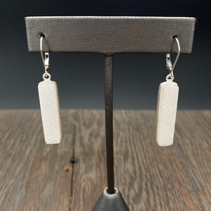 Coated druzy bar earrings - silver