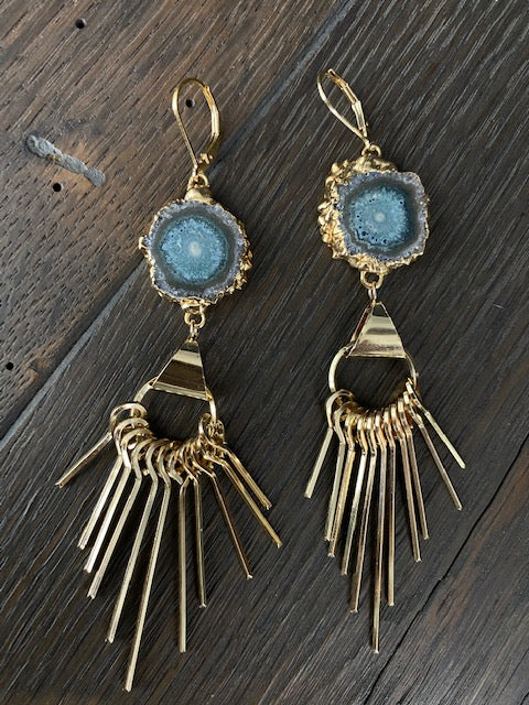 Jasper stalactite earrings with gold tone fringe