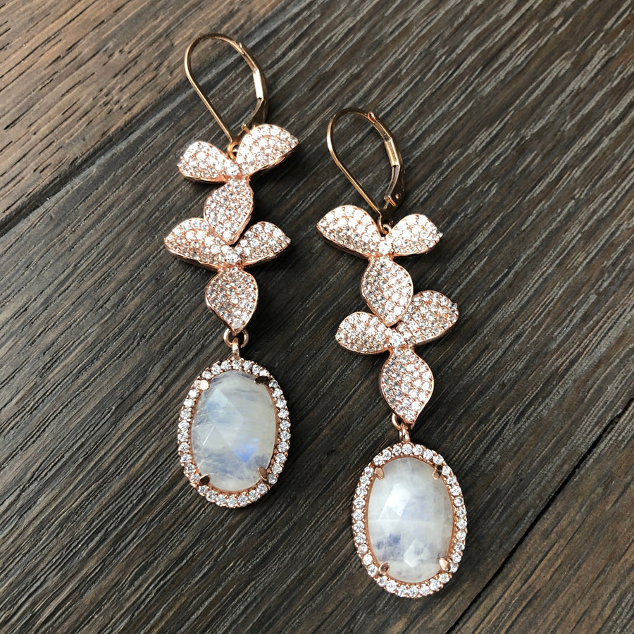 Rose gold floating flower and rainbow moonstone earring