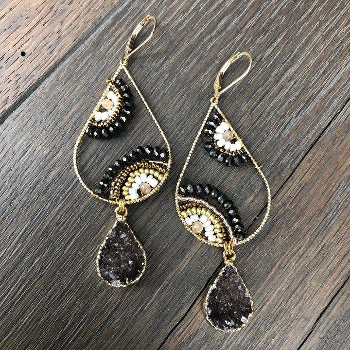 "Seed bead ""Paisley"" earring with druzy drops"