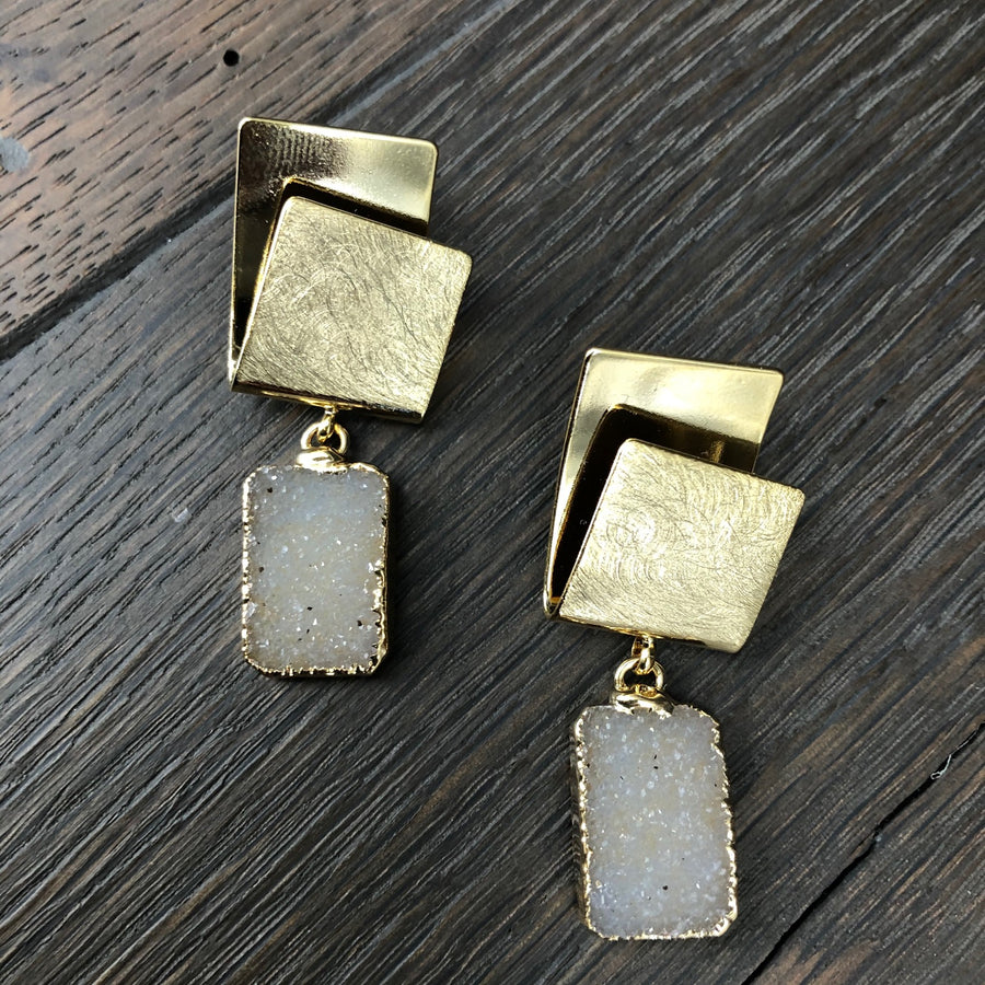 "Brushed gold ""origami"" post  and druzy earrings"