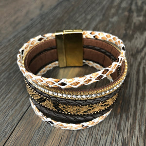 Multi-strand faux snakeskin, zipper and vegan leather cuff