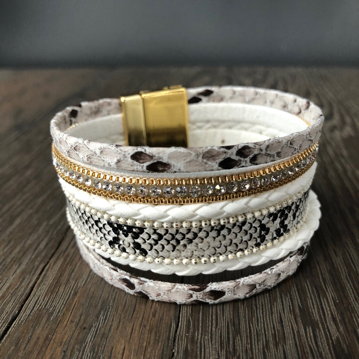 Faux snakeskin, vegan leather, zipper multi-strand cuff