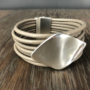 Vegan leather taupe multi-strand cuff