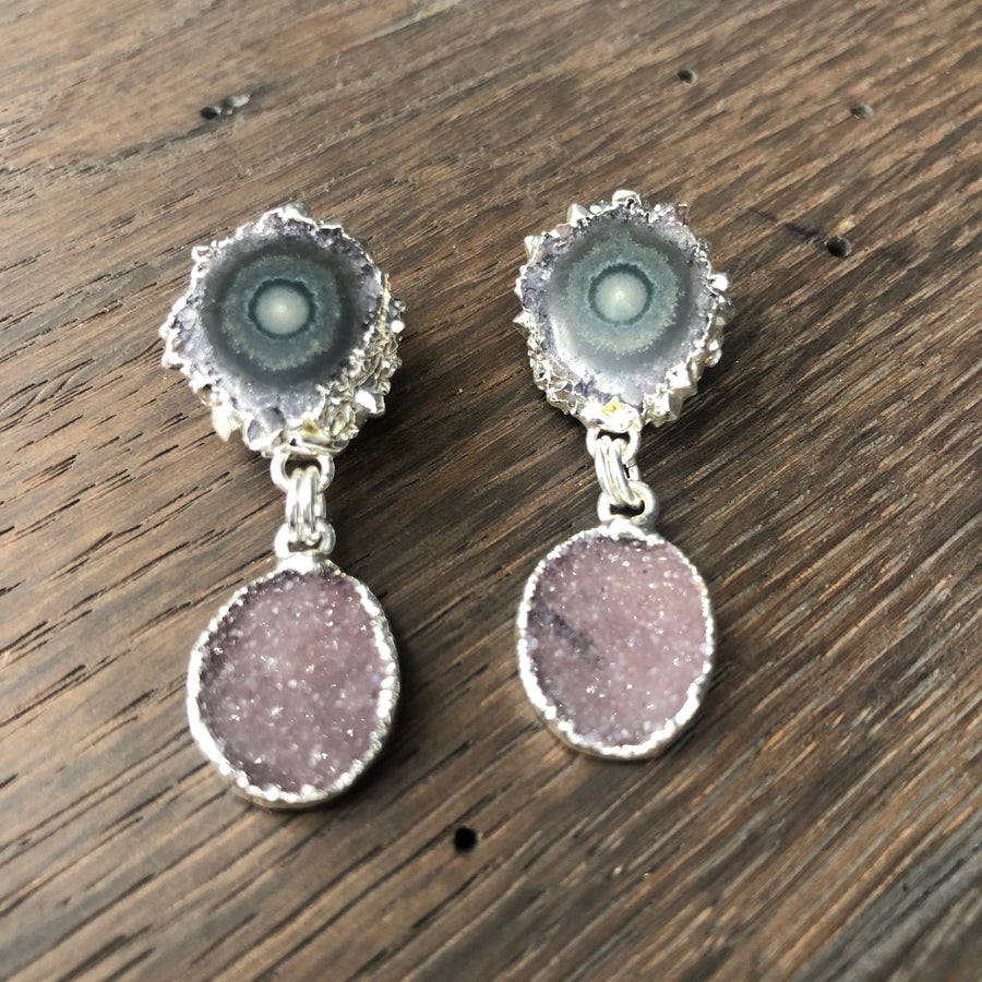 Jasper stalactite post earring with druzy drops - silver
