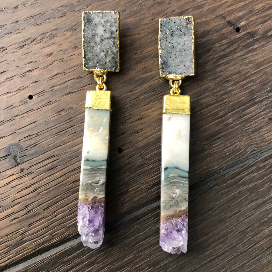 Amethyst rose or druzy post earring with amethyst slice bars