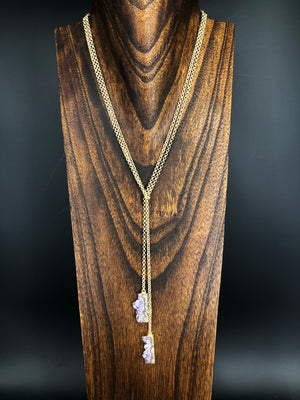 Amethyst slice wrap necklace - gold