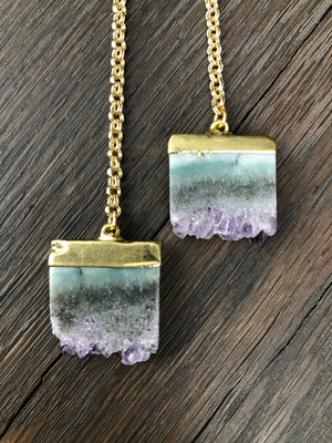Amethyst slice tab wrap necklace - gold