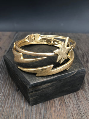Rocker chic star and lightening bolt bangle bracelet set
