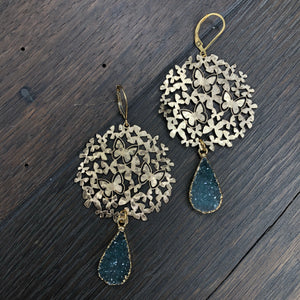 Butterfly disc with druzy drop earrings - gold