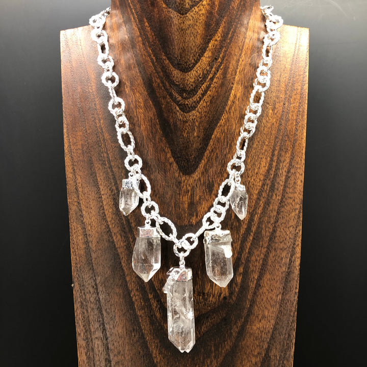 Quartz point statement necklace - silver