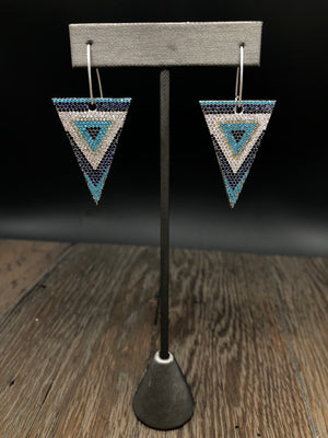 Pavé colored cz chevron print triangle earrings