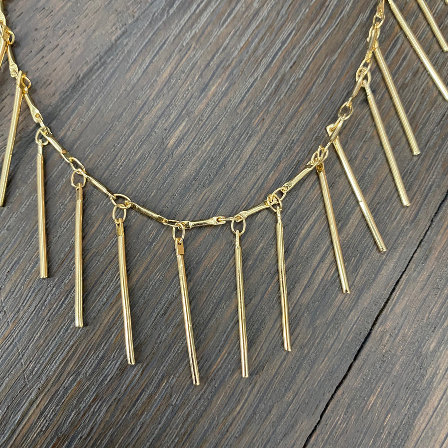 Fringe layering necklace - gunmetal silver gold