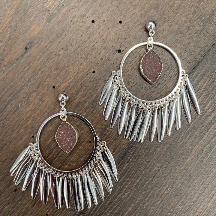 Fringe hoop earrings with druzy drops - silver
