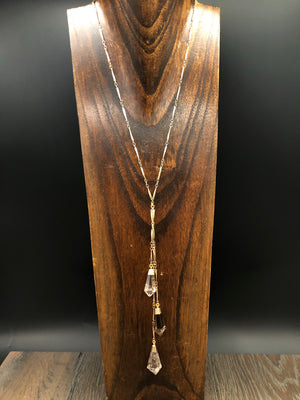 "Smoky quartz ""Waterfall"" lariat necklace"